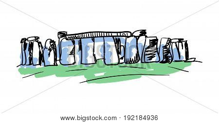 Stonehenge prehistoric monument hand drawn isolated icon. English culture element, patriotic vector illustration.
