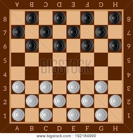 Checkers. Ancient Intellectual board game. Chess board. White and black chips. Vector Image