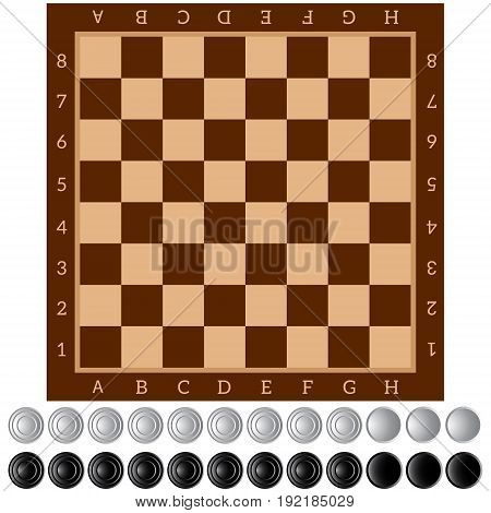 Checkers. Ancient Intellectual board game. Chess board. White and black chips. Isolated objects. Vector Image.