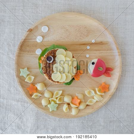 Fish lunch plate fun food art for kids