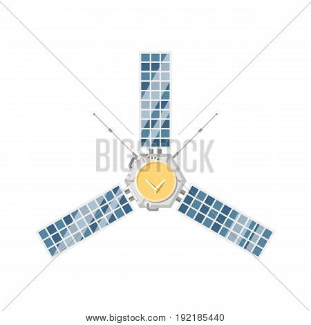 Modern orbital satellite isolated icon. Astronautics and space technology object, spacecraft vector illustration in flat design.