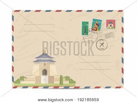 Taiwan vintage postal envelope with postage stamps and postmarks on white background, isolated vector illustration. Taiwanese ancient temple. Air mail stamp. Postal services. Envelope delivery.