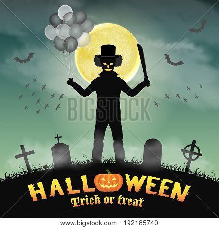 halloween killer clown in a night graveyard