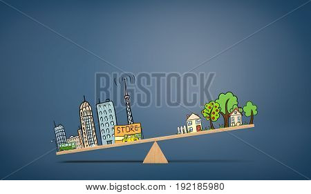 A wooden seesaw on blue background with an illustration of urban life overweighing a drawing of country houses. City life. Suburban house. Living close to work.