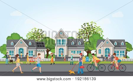 Activities of people in modern villagerelaxing jogging riding bicycle and running on the street of village charactor cartoon vector illustration.