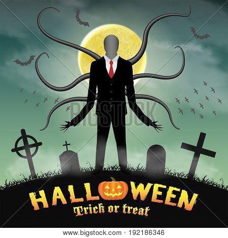 halloween slender tall man in a night graveyard