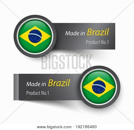 Flag icon and label with text made in Brazil .
