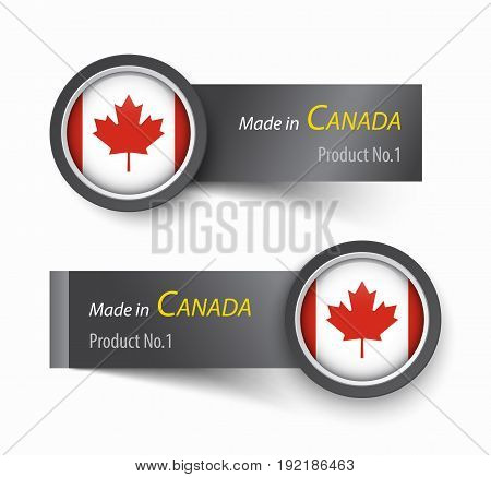 Flag icon and label with text made in Canada .