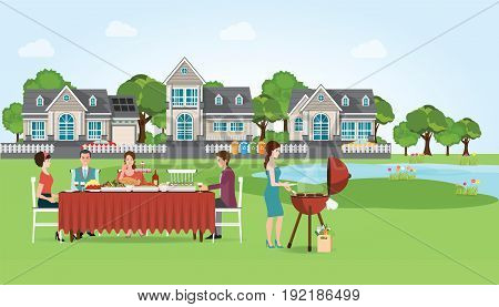 Group of people enjoying party barbecue picnic on the grass on modern village and lake background with barbecue food and accessories vector illustration.