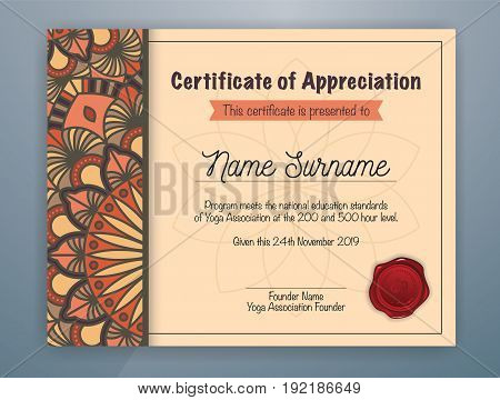 Brown Mandala Bordered Certificate of Appreciation Template Design for Yoga class. Vector illustration