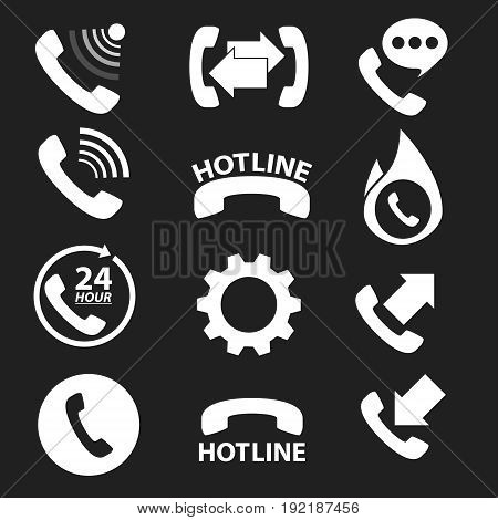phone hot line and 24 hour icon. vector illuustration.