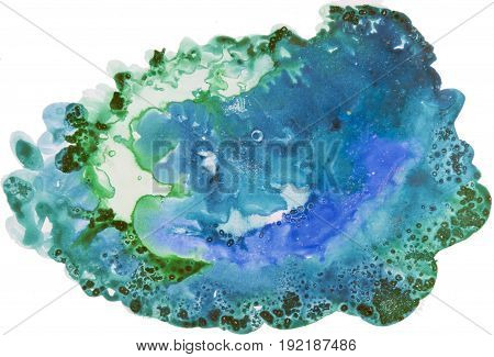 Watercolor Background Painting On White Paper. Blue And Green Abstract Texture. Color Smudges Surfac