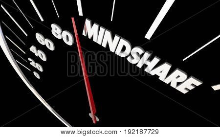 Mindshare Topic Full Attention Awareness Speedometer Measurement 3d Illustration