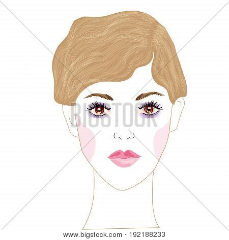 Vector portrait of young beautiful woman with beautiful brown eyes and brown hair tied in a beautiful hairstyle and fresh light Mace up. print