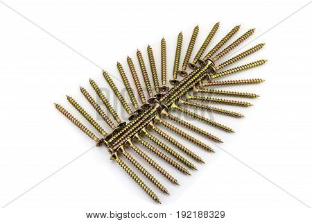Galvanized Yellow Screws Laid Out As Wing On White Background