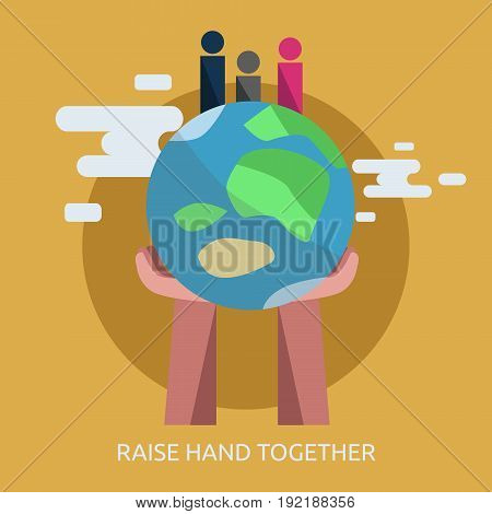 Raise hand together Conceptual Design | Set of great flat design illustration concepts for people, couple, human independence and much more.