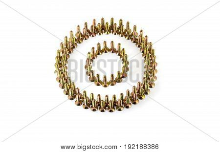 The Circle Is Lined With Yellow Avarage Galvanized Screws Isolated On White Background