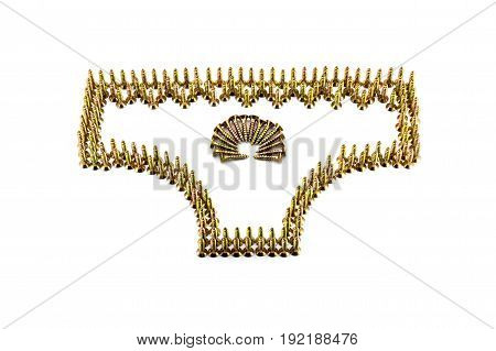 Female Pants Drawing With Yellow Avarage Galvanized Screws Isolated On White Background