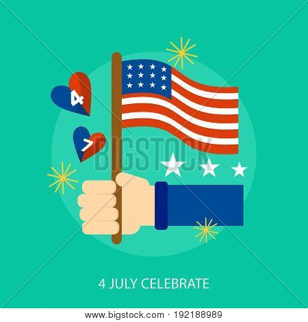 4 July Celebrate Conceptual Design | Set of great flat design illustration concepts for region, state, usa, independence and much more.