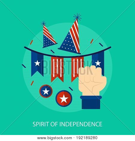 Spirit Of Independence Conceptual Design | Set of great flat design illustration concepts for region, state, usa, independence and much more.