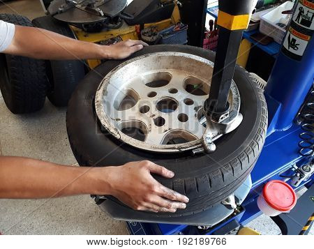 A Tire Changer In A Car Service Center