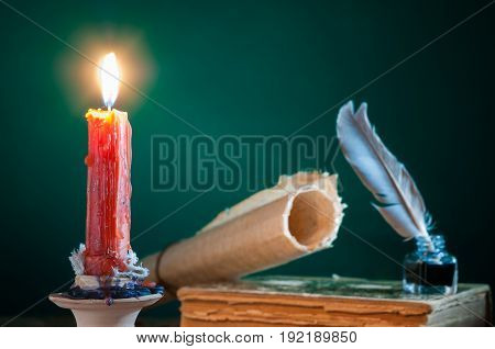 Quill Pen By Candle Light