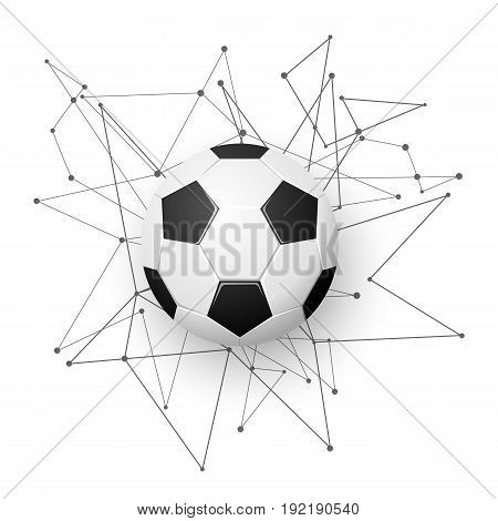 Football emblem template. Soccer ball with geometric shapes, modern abstract explosion. Sport banner design. Vector illustration.