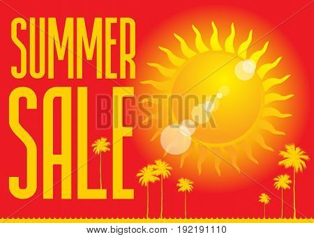Summer Sale design template. Summer sale banner or badge with beautiful sun and text on red background vector illustration