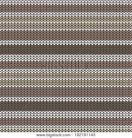 brown shade and white striped knitting pattern background vector illustration image