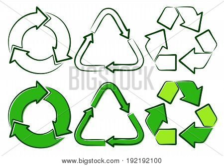 Green signs of recycling in different options.
