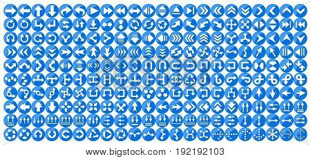 set of blue buttons with an arrow.
