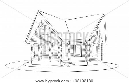 The Sketch of the big wooden house.