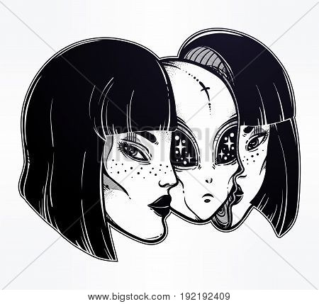 Portriat of the extraordinary alien from outer space face in disguise as a human girl. UFO sci-fi, tattoo art. Isolated vector illustration. Trendy T-shirt print. Halloween, conspiracy theory sticker.