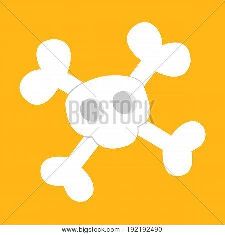 pirate skull and crossbones vector in orange background