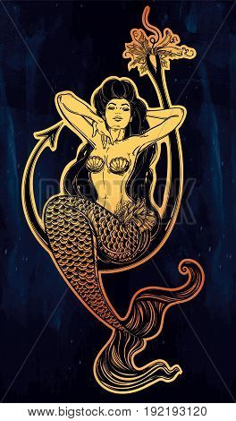 Beautiful mermaid girl sitting on fishing hook hand drawn artwork. Graceful ocean siren in retro style. Sea, fantasy, spirituality, mythology, tattoo art, coloring books. Isolated vector illustration.