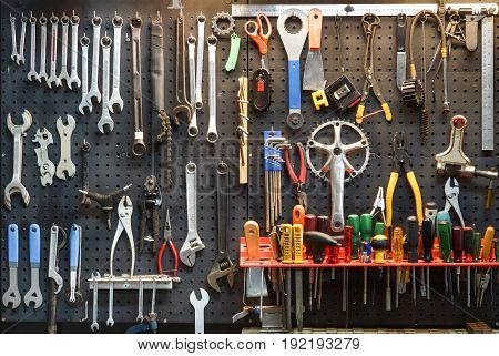 Bicycle tools background / Equipment for bicycle shop