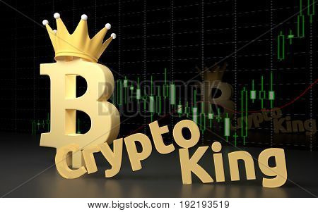 Bitcoin currency sign and text CryptoKing on the dark background. 3D rendering.