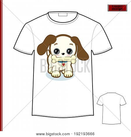 Template T-shirt with an individual design: сute puppy, the symbol of 2018.