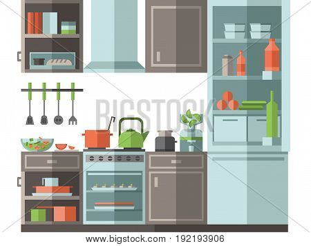 Kitchen with furniture, cooking utensils and appliances. Flat style vector illustration on white background.