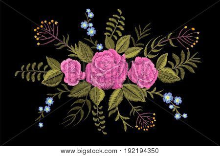 Rose Flower Embroidery Texture Patch. Red Field Flower Herb Textile Print Neckline Traditional Decor