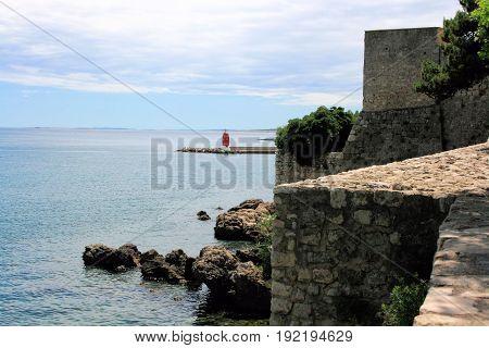 view at Croatian sea in Krk on the island Krk
