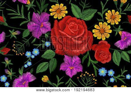 Rose Flower Embroidery Texture Seamless Pattern. Red Field Flower Herb Textile Print Neckline Tradit