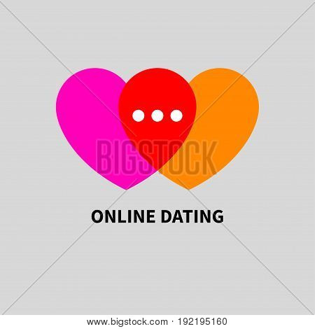 Logo online dating. Icon two hearts intersect. Message in chat. Vector illustration