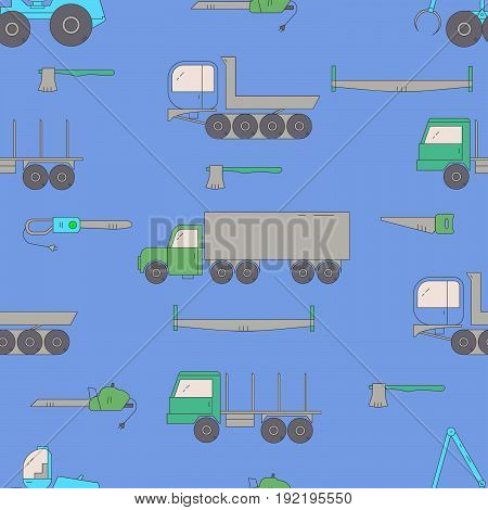 Forestry Machines Seamless Pattern.