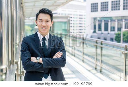 Young businessman in Hong Kong city