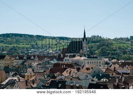View over St. Vitus church, Cesky Krumlov