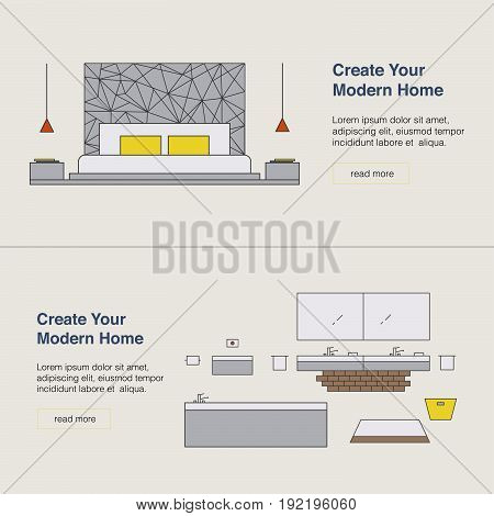 Modern Home Design Template With Illustration. Interior Design Web Banner. Home Pages Design Concept