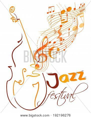 jazz festival design with double bass and flying musical lines g clef and notes. vector