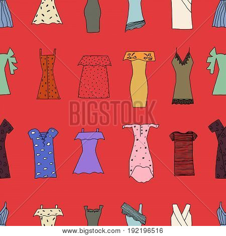 Hand Drawn Trendy Dresses Seamless Pattern. Fashion Dresses With Strip, Bandage, Polka Dot, Cold Sho