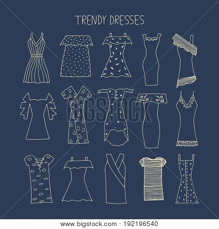 Hand Drawn Trendy Dresses Design Concept. Fashion Dresses With Strip, Bandage, Polka Dot, Cold Shoul